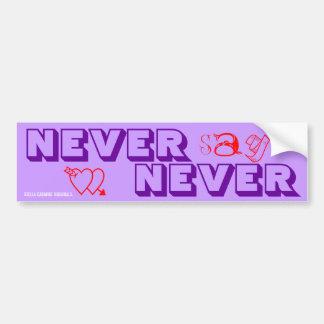SKO NEVER SAY NEVER Purple + Hearts Bumper Sticker