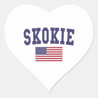 Skokie US Flag Heart Sticker