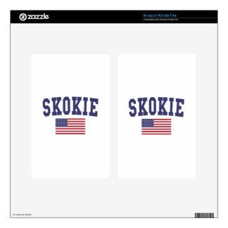 Skokie US Flag Kindle Fire Decals