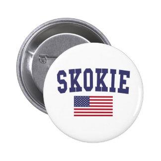 Skokie US Flag Pinback Button