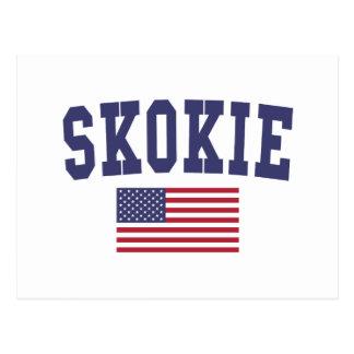 Skokie US Flag Postcard