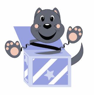 Skrunchkin Cat Smokey In Blue Box Photo Sculpture Ornament