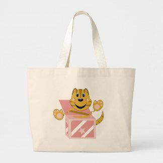 Skrunchkin Cat Toby In Pink Box Large Tote Bag