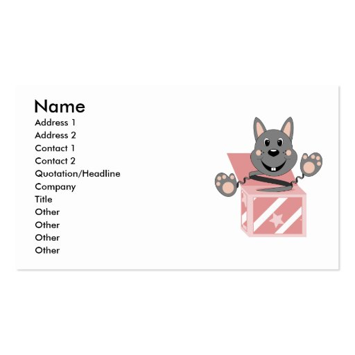 Skrunchkin Rabbit Kasper In Pink Box Double-Sided Standard Business Cards (Pack Of 100)