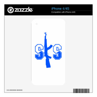SKS Assault Rifle Logo Blue png Decal For iPhone 4