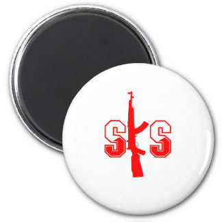 SKS Assault Rifle Logo Red.png 2 Inch Round Magnet