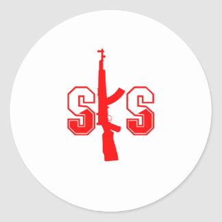 SKS Assault Rifle Logo Red png Round Stickers