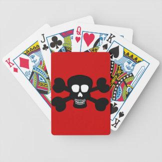 skull004 BLACK SKULL JOLLY ROGERS PIRATE BONES GAN Bicycle Playing Cards