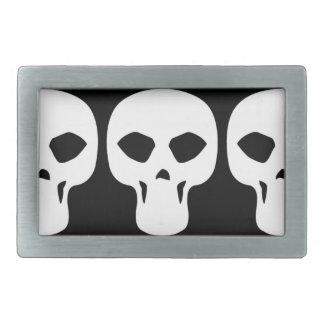 skull009_92007 NARROW THIN HUMAN SKULL GANG TOUGH Belt Buckles