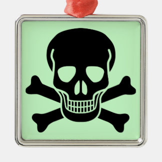 skull 01 square metal christmas ornament