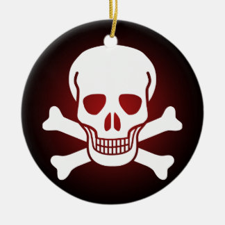 skull 02 Double-Sided ceramic round christmas ornament