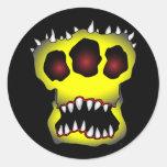 skull-1 amarillo etiquetas redondas