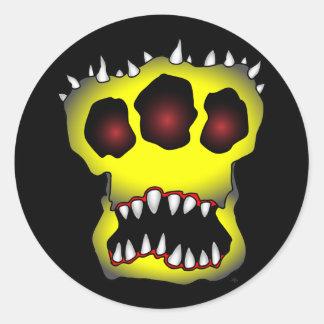 skull-1 amarillo pegatina redonda