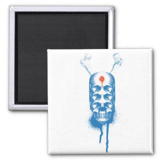 Skull 6 Eyes (blue) Fridge Magnet