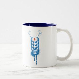 Skull 6 Eyes (blue) Two-Tone Coffee Mug