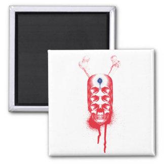 Skull 6 Eyes red Refrigerator Magnets