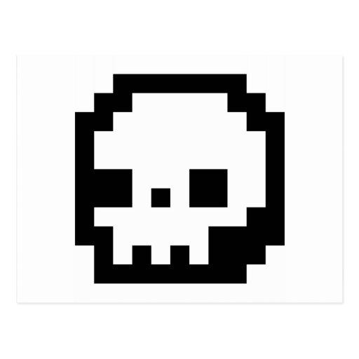 Skull 8 Bit Pixel Art Postcard
