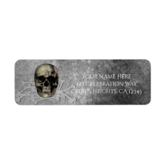 Skull & a pile of Bones Halloween Gothic Party Label