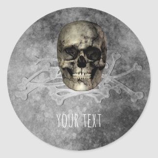 Skull & a pile of Bones Halloween Party Favor Classic Round Sticker