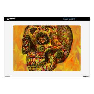 Skull, abstract,orange skins for laptops