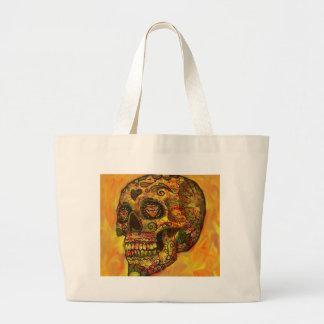 Skull, abstract,orange tote bag
