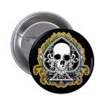 SKULL ACE OF SPADES 2 INCH ROUND BUTTON