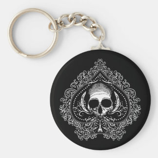 Skull Ace of Spades Basic Round Button Keychain