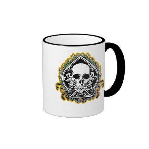 SKULL ACE OF SPADES RINGER COFFEE MUG