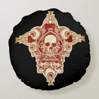 Skull ace of spades round pillow
