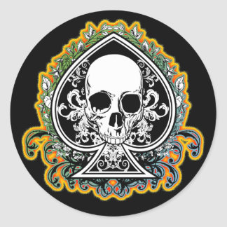 SKULL ACE OF SPADES ROUND STICKERS