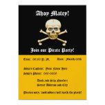 Skull amd Bones Pirate Party 5x7 Paper Invitation Card