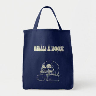skull and a book tote bags