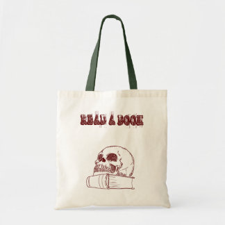 Skull and a book tote bag
