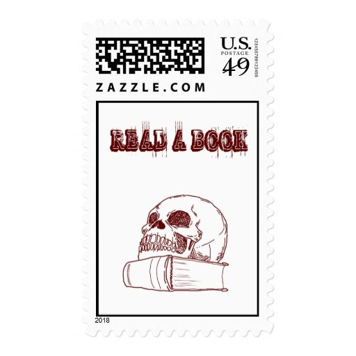 Skull and a book postage stamp