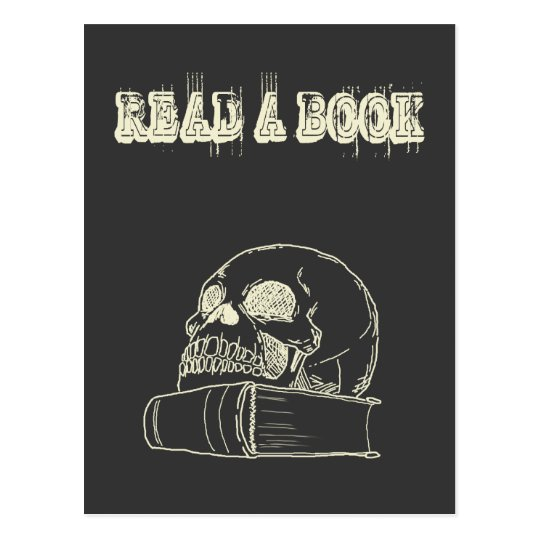 Skull and a book postcard