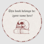 Skull and a book round stickers