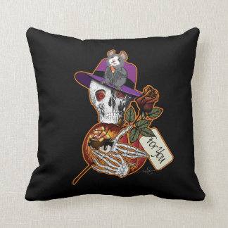 Skull and Bat Halloween Throw Pillow