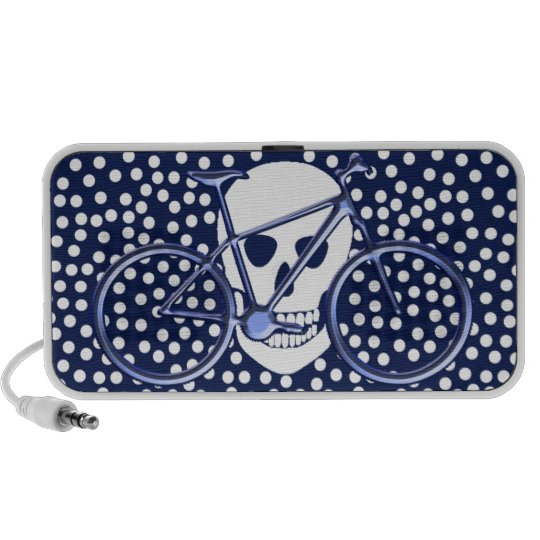 Skull and bike on polka dots mini speaker