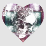 Skull and blocks transparency print. heart sticker