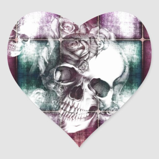 Skull and blocks transparency print. heart stickers