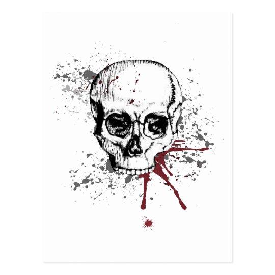 Skull and blood postcard