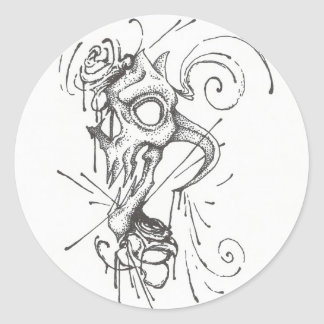 Skull and Blood Roses Round Stickers