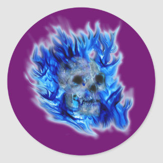Skull and Blue Flames Spooky Art Stickers