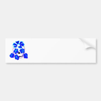 Skull and Blue Flowers Bumper Sticker