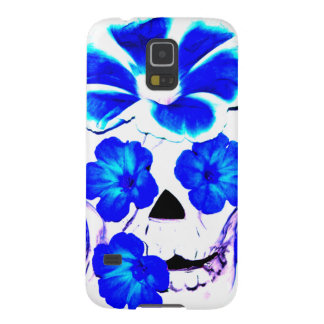 Skull and Blue Flowers Galaxy S5 Case