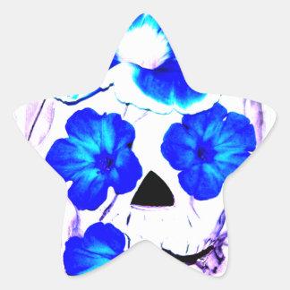 Skull and Blue Flowers Star Sticker