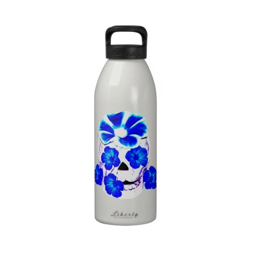 Skull and Blue Flowers Water Bottle