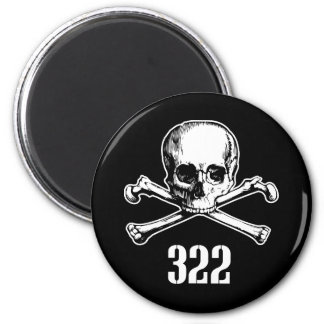 Skull and Bones 322 2 Inch Round Magnet