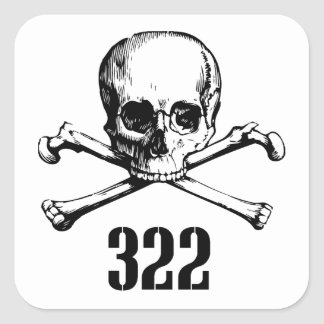 Skull and Bones 322 Square Sticker
