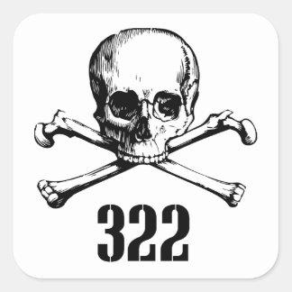 Skull and Bones 322 Square Stickers